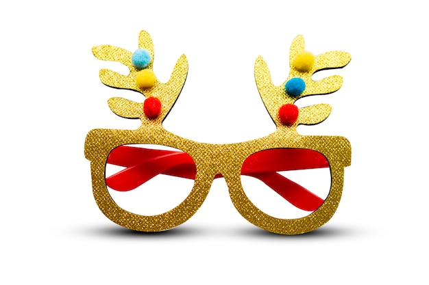 Golden deer eyes glasses on white background
