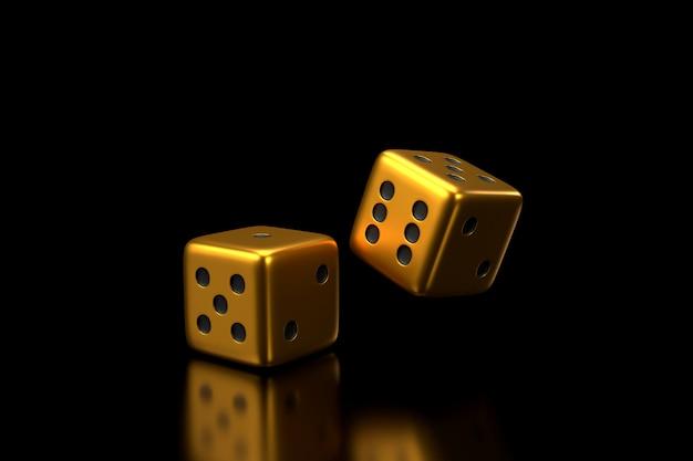Golden dice. 3d rendering.