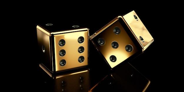 Golden dice on dark surface
