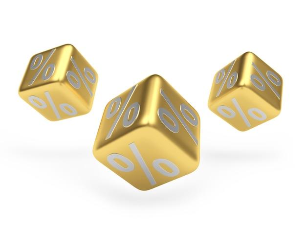 Золотые кости со знаками процента