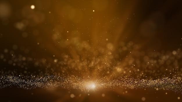 黄金のデジタル粒子波と明るい背景