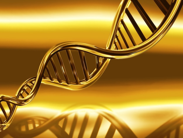 Golden dna strands on abstract medical background
