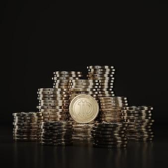 Golden dogecoine (doge) 동전은 검은 장면, 금융 용 디지털 통화 동전, 토큰 교환 홍보에 쌓입니다. 3d 렌더링