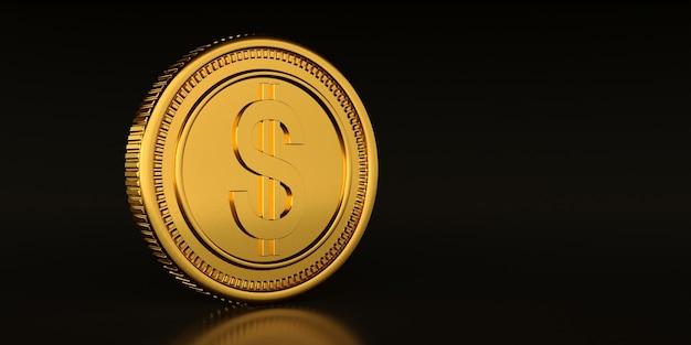 Golden dollar coin on black background, 3d rendering