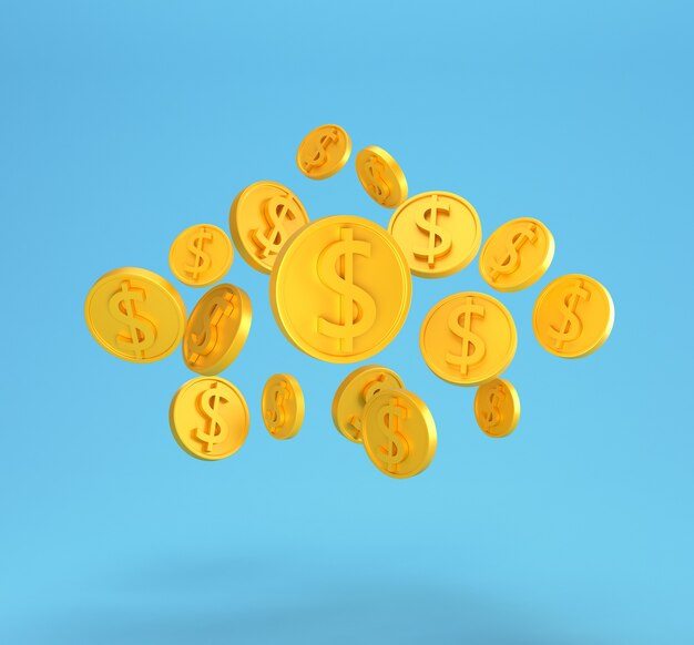 Golden dollar coins falling isolated on blue. minimal us dollar coins.