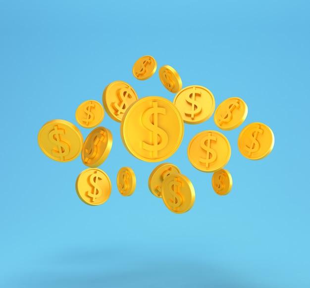Золотые монеты доллара падают изолированные на синем. минимальные монеты доллара сша.