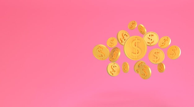 Golden dollar coins falling isolated on pink. minimal us dollar coins