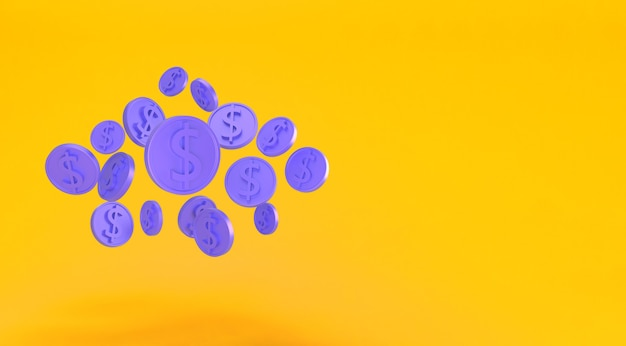 Golden dollar coins falling isolated on yellow. minimal us dollar coins. bank and investment concept. 3d render