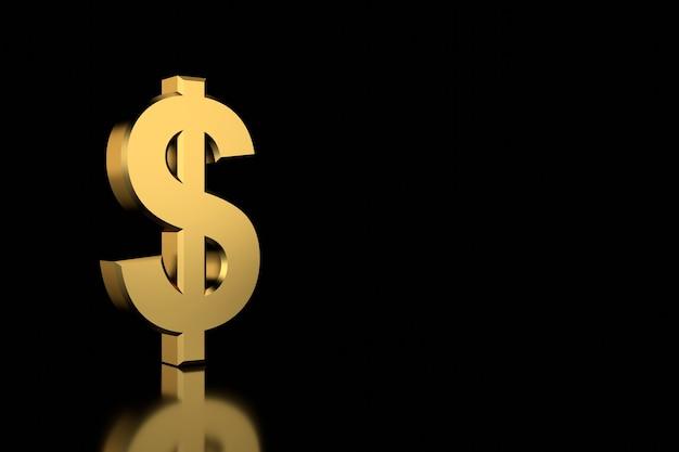 Золотой знак доллара. 3d-рендеринг.