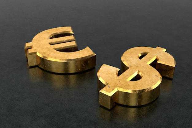 Golden dollar sign and euro sign. 3d rendering.