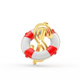 Golden dollar sign in lifebuoy