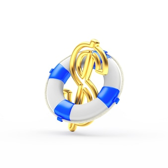 Golden dollar sign in the lifebuoy