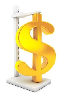 Золотой знак доллара роста меры на белом фоне