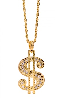 Golden dollar sign necklace