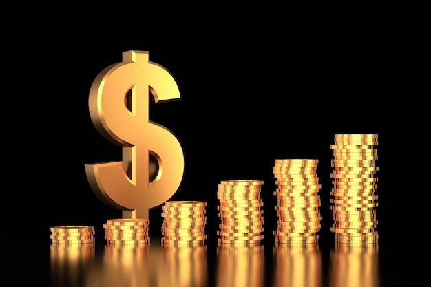 コインスタックと黄金のドル記号。 3dレンダリング。