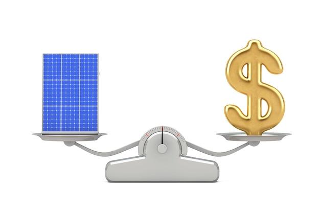 Золотой знак доллара с фотоэлектрической панелью солнечных батарей, балансирующей на простой весовой шкале на белом фоне. 3d рендеринг