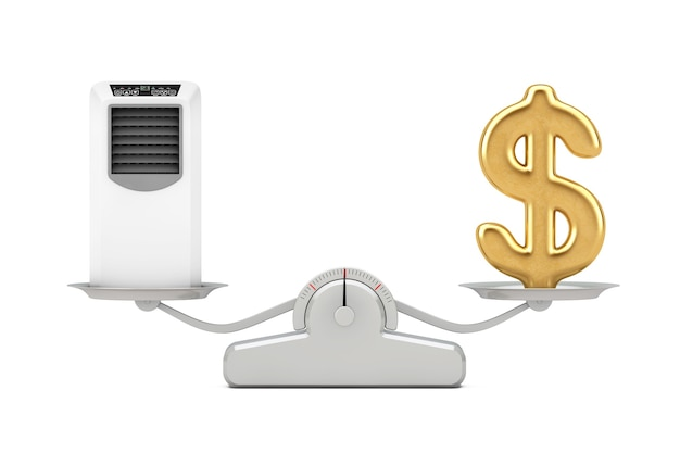 Golden dollar sign with portable mobile room air conditioner balancing on a simple weighting scale on a white background. 3d rendering