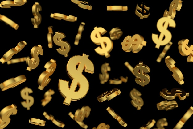 Golden dollar sign with soft focus