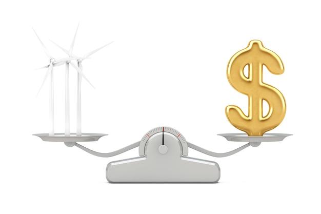풍력 터빈과 황금 달러 기호 풍차 흰색 배경에 간단한 가중치 규모에 균형. 3d 렌더링