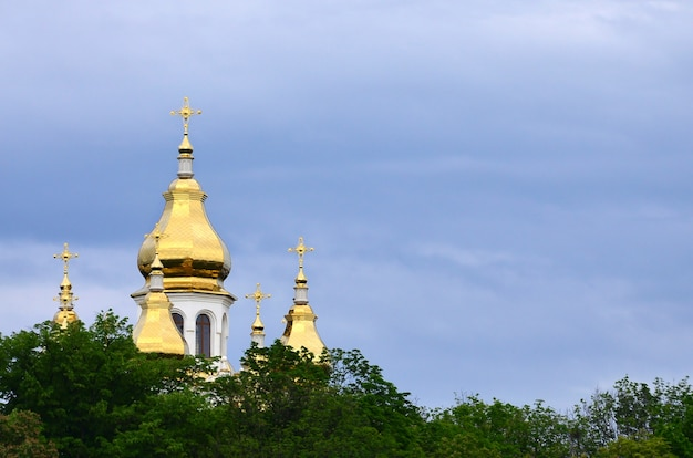 Golden domes of an orthodox church among blossoming trees