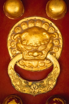Golden dragon head door knob with chinese ornaments
