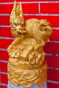 Golden dragon statue closeup
