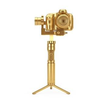 흰색 배경에 황금 dslr 또는 비디오 카메라 짐벌 안정화 삼각대 시스템. 3d 렌더링