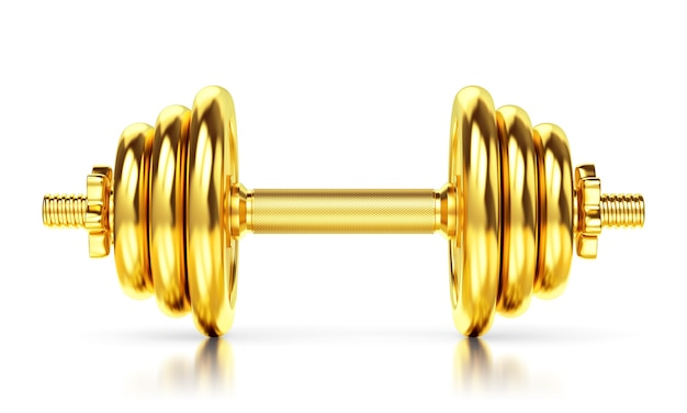 Golden dumbbell isolated on white background, glossy floor. sports award, trophy and championship concept. 3d illustration