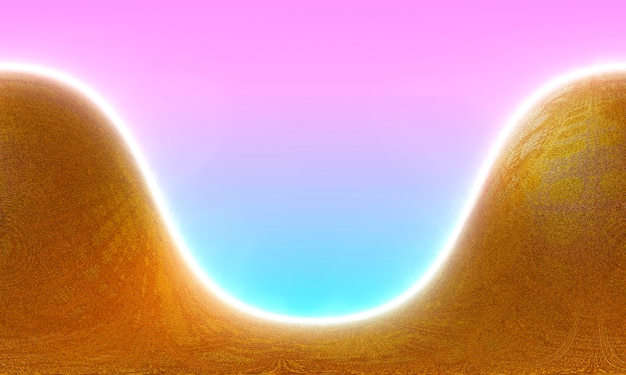 Golden dunes of fine sand glow under an pink and blue sunset. 3d rendering.