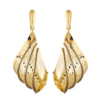 黄金のイヤリングファッションスタイリッシュな白い背景で隔離