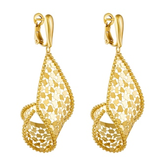 Golden earrings fashion stylish isolated on a white background