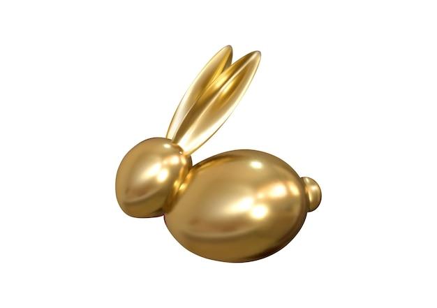 Золотой пасхальный кролик. золотой декоративный объект на пасху. вектор.