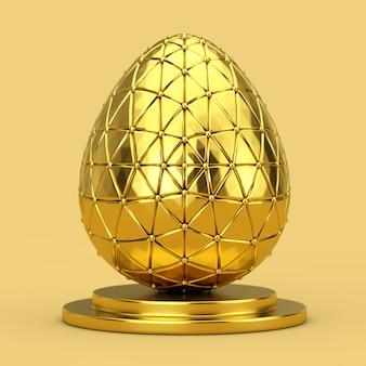 Золотое пасхальное яйцо на золотом постаменте на желтом фоне. 3d рендеринг