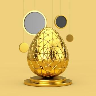 Золотое пасхальное яйцо на золотом постаменте с висячими абстрактными кругами на желтом фоне. 3d рендеринг