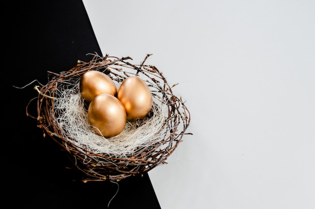 Golden easter eggs in birds nest on black and white abstract background