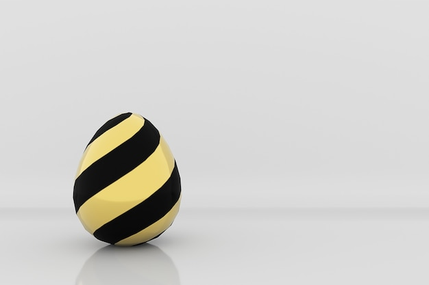 Golden egg in black stripes pattern on grey studio background 3d render