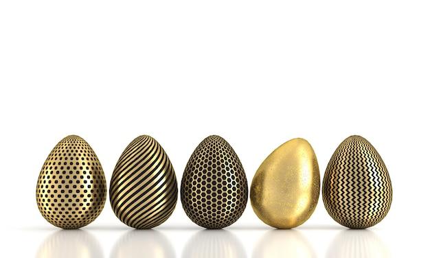 Золотое яйцо в ряду, изолированные на белом фоне