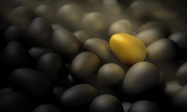 A golden egg lying among the black eggs. 3d illustration