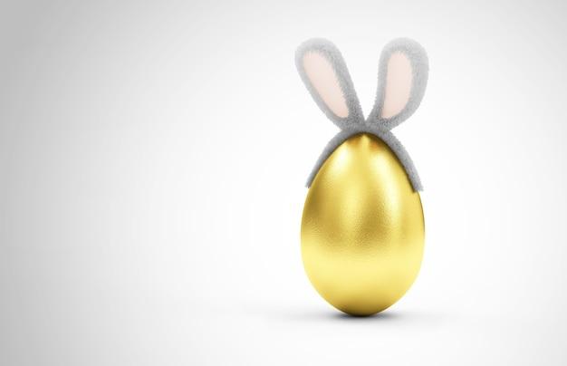 毛皮のようなバニーの耳を持つ黄金の卵