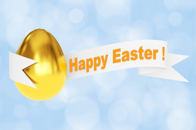 Golden egg with happy easter ribbon sign on a blue background. 3d rendering.