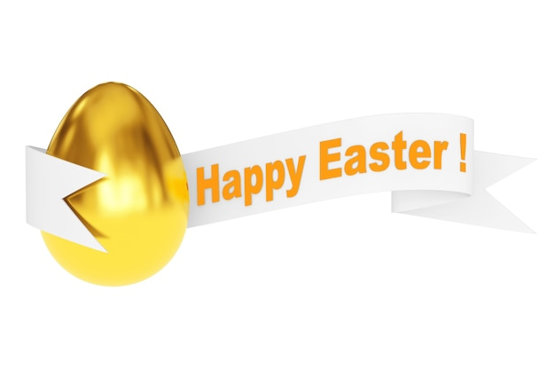 Golden egg with happy easter ribbon sign on a white background. 3d rendering.