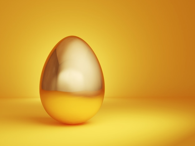 Golden egg on a yellow