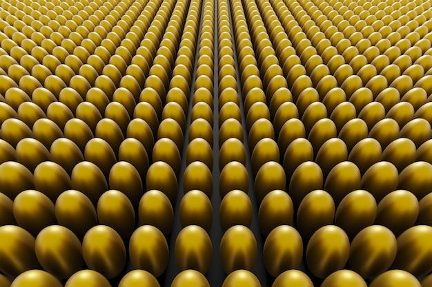Golden eggs on a black background. 3d render easter background.