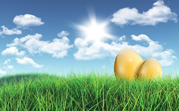 牧草地で金の卵