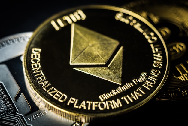Golden ethereum on dark background