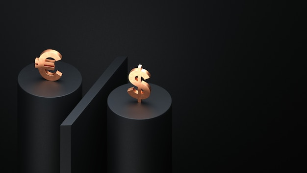 Golden euro and dollar on a black percentage sign