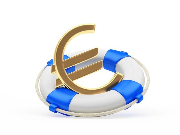 Golden euro sign in blue lifebuoy