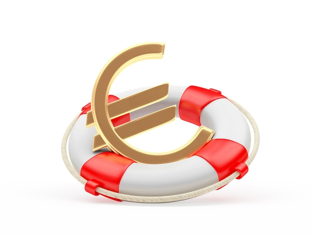 Golden euro sign in lifebuoy