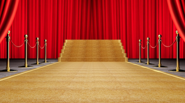 Golden event carpet, stair and gold rope barrier concept of success and triumph