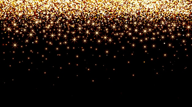 Golden falling confetti on a black background